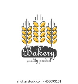 Bakery logo vector template isolated on white background, flat thin line style outline bakery food logotype with wheat and bread shape, modern creative trendy design