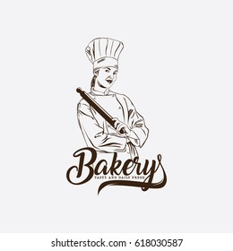 bakery logo with woman chef icon vector
