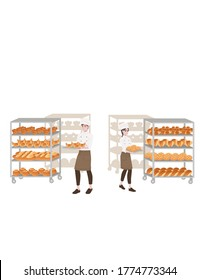Bakery manufacturer male and female chef cook with baking tray and bread tray professional bakery cartoon character design flat vector illustration isolated on white background