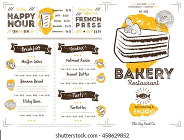 Bakery menu images stock photos vectors shutterstock bakery menu design and bakery hand drawn vector illustration altavistaventures Image collections