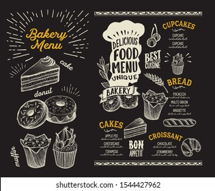 Bakery menu template for restaurant on a blackboard background vector illustration brochure for food and drink cafe. Design layout with vintage lettering and doodle hand-drawn graphic.