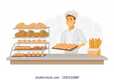 Bakery - modern vector cartoon people characters illustration on white background. High quality composition with a young male baker holding a tray with buns, different bread, cakes in the window