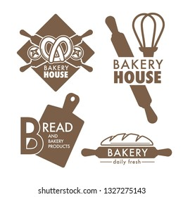 Bakery monochrome vector logos or signs labels collection.