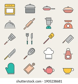 Bakery and pastries set of vector design elements, kitchen tools, bread shop, icons, and symbols