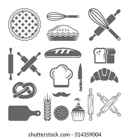 Bakery and pastries set of vector design elements on white background, kitchen tools, bread shop silhouette icons and symbols
