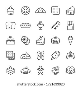Bakery pastry and bread 25 line icons vector