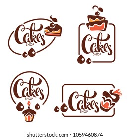 bakery, pastry, confectionery, cake, dessert, sweets shop, vector logo templates collection