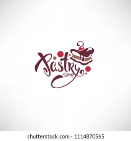 bakery, pastry, confectionery, cake, dessert, sweets shop, vector logo template