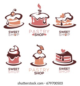 bakery, pastry, confectionery, cake, dessert, sweets shop, vector logo and emblem collection