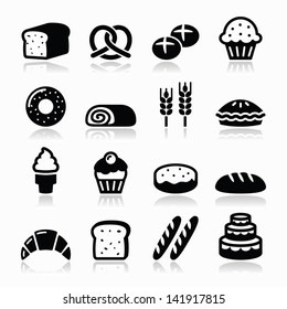 Bakery, pastry icons set - bread, donut, cake, cupcake