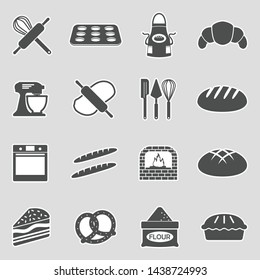 Bakery And Pastry Icons. Sticker Design. Vector Illustration.