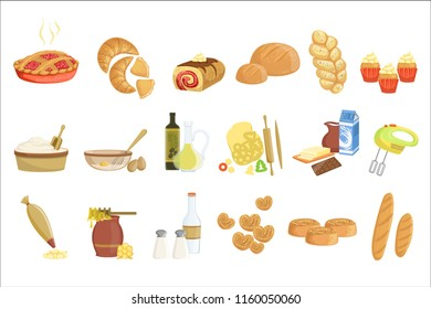 Bakery and pastry products icons set with various sorts of bread, sweet buns, cupcakes, dough and cakes for bakery shop or food