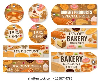 Bakery and pastry shop discount tags with bread and desserts. Wheat baguette, croissant and cereal bun, cake, bagel and donut, cupcake, pie and gingerbread, candies and pancake special price offer
