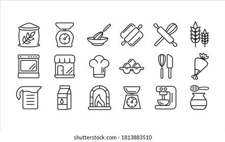bakery and pastry shop vector icon or button bundle set in simple outline style