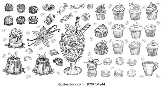Bakery pastry sweets desserts objects collection shop cafe poster restaurant menu food. Scarpbook hand drawn vector design elements bakehouse cake chocolate vanilla sweets icons stickers labels.