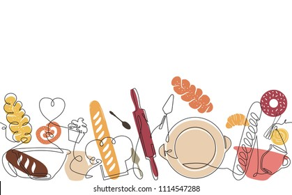Bakery Pattern. Background with Baking Products and Utensils. Bread House banner. Cooking poster. Continuous drawing style. Vector illustration.