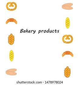 Bakery products banner, vector illustration. Wheat bread, pretzel, ciabatta, croissant, french baguette