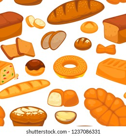 Bakery products buns and bread seamless pattern vector.