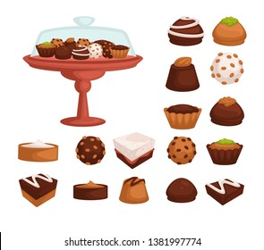 Bakery products cakes and cookies or candies with chocolate or cream