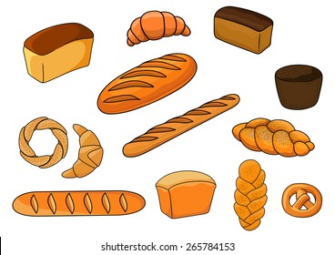 Bakery products with cartoon loaves of white and brown bread, baguettes, pretzel, croissants, plaited loaves and bagel decorated poppy and til seeds for bakery shop design