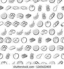 Bakery products and Fruits set. Background for printing, design, web. Usable as icons. Seamless. Monochrome binary, black and white.