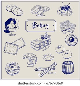 Bakery products hand drawing  set on decorativ  background of elements: Waffles, Madeleine, Croissant,  Petites sables,  Canela , Churros, Paris Brest, Eclair, Pavlova etc with black outlines