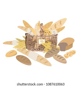 Bakery products like baguettes, breads, croissants and buns in the basket. Vector illustration of bakery goods on white background
