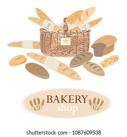 Bakery products like baquettes, breads, croissants adn buns in the backet. Vector illustration of bakery on white background. Bakery shop with corn cobs