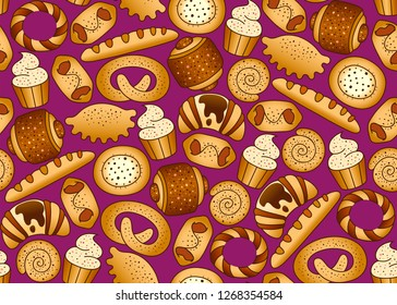 Bakery products on the black seamless background