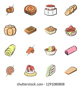 Bakery products and Snacks set. Background for printing, design, web. Usable as icons. Colored.