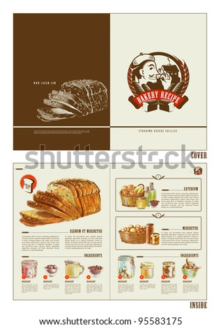 bakery recipe booklet design template stock vector royalty free