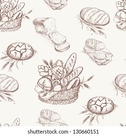 Bakery seamless pattern. Background with bread