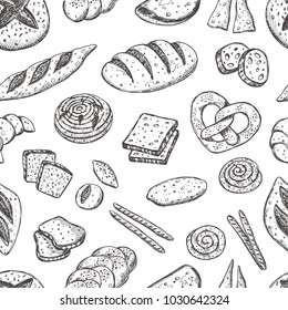 Bakery seamless pattern. Hand drawn vector illustration. Baguette, pretzel, focaccia, sandwich. Can be used for wrapping paper, street festival, farmers market, shop, menu, cafe, restaurant
