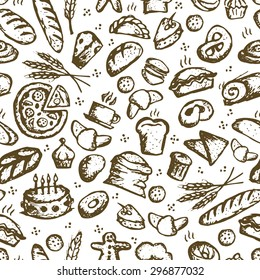 Bakery seamless pattern, sketch background for your design. Vector illustration