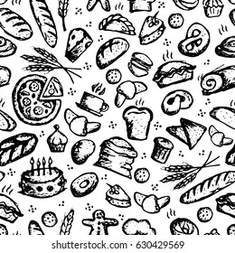 Bakery seamless pattern, sketch background for your design