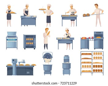 Bakery set of cartoon icons with factory workers, industrial equipment, flour products on shelves isolated vector illustration