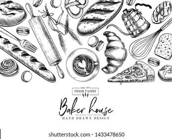 Bakery set. Hand drawn bread, loaf, croissant, pretzel, macaron, pie, baguette. Wheatl flour pastry. Vector engraved banner. For restaurant and cafe menu, baker shop pasty sweets Design template