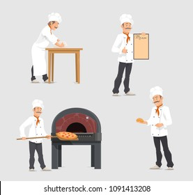Bakery shop and baker at bakehouse. Vector flat design of baker at work or baker man with baked fresh buns at furnace oven with bagel loafs and sweet pastry baguette on shelf for bakery shop menu