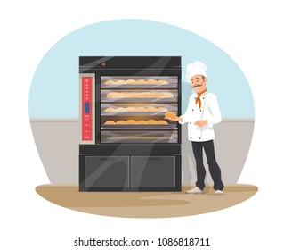 Bakery shop and baker at bread showcase. Vector flat design of bakehouse and baker man with baked fresh buns and bagel loafs and sweet pastry baguette on shelf for bakery shop