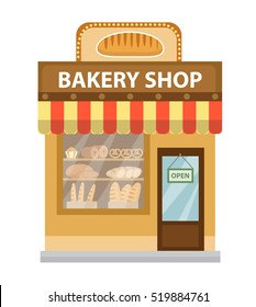Bakery shop. Baking shop building icon. Bread Shop flat style. Showcases stores on the street. Vector illustration