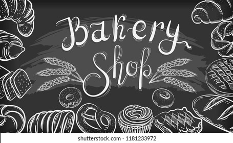Bakery Shop. Banner with pastry in black and white