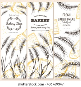 Bakery shop banner set. Hand drawn bread vertical banners. Banner set. Vector illustration in sketch style.