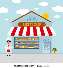 Bakery shop building facade with bread, cakes, pastry, muffins and donuts. Bakery store illustration in flat style with funny confectioner.