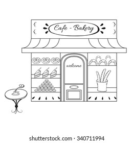 Bakery shop building facade with signboard. Hand drawn illustration or icon for city landscape. Sketch of european building or market on the street isolated on white background Outdoor cafe with table