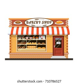 Bakery shop building facade with signboard. Bakery facade flat icon. vector illustration in flat style