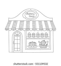 Bakery shop building isolated on white background. Hand drawn doodle style vector illustration.