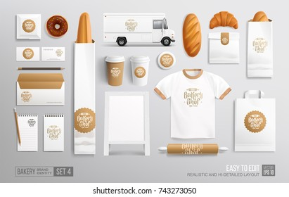 Bakery shop, Cafe, Food delivery truck - white corporate identity branding Mockup. Realistic MockUp set of food truck, uniform, envelope, cup, paper pack, menu. Bakery shop, Fast food package