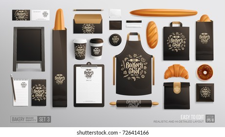 Bakery Shop, Cafe, Restaurant - Black corporate brand identity Mockup.  Realistic MockUp set of Bakery Shop logo, uniform, street menu board, loaf, croissant, apron, paper bag, food package