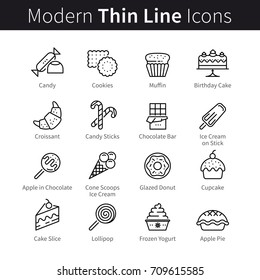 Bakery shop, cakery, cafe, coffehouse and confectionery pictogram. Sweets, baked good, dessert, pastry and candy. Modern thin line art icons. Linear style illustrations isolated on white background.