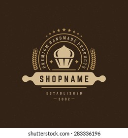 Bakery Shop Design Element in Vintage Style for Logotype, Label, Badge and other design. Cake retro vector illustration.